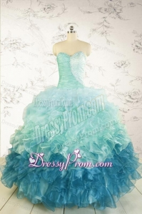2015 Prefect Blue Quinceanera Dresses with Beading and Ruffles