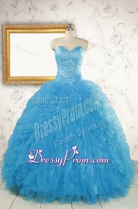 2015 Most Popular Baby Blue Quinceanera Dresses with Beading