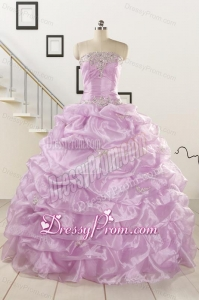 2015 Gorgeous Lilac Quinceanera Dresses with Appliques and Ruffles