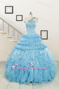 2015 Baby Blue One Shoulder Sweet 15 Dresses with Beading