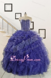 2015 Pretty Sweetheart Quinceanera Dresses with Sequins and Ruffles