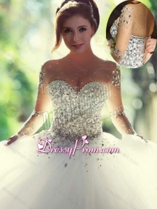 Scoop Beaded White Sweet 16 Dress with Long Sleeves
