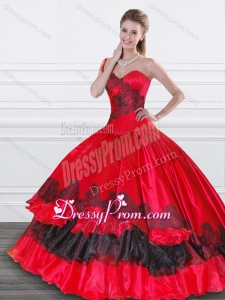 Exquisite Applique Red and Black Quinceanera Dress in Organza and Taffeta