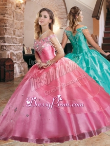 Gorgeous Beaded Decorated Sleeves Quinceanera Dress with Off the Shoulder