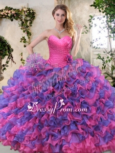 Eggplant Purple and Pink Sweet 16 Dress with Ruffled Layers