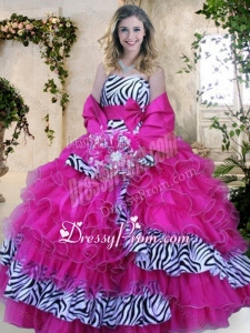 Strapless Zebra and Hot Pink Quinceanera Dresses with Ruffles and Bowknot