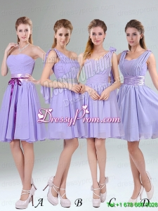 Classical Lavender Princess Mini Length Bridesmaid Dress with Ruching