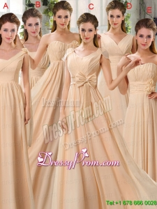2015 Fashionable Champagne Ruching Chiffon Bridesmaid Dresses