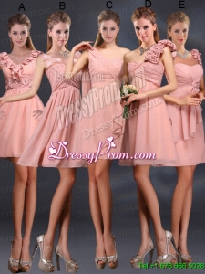 2015 Ruching Chiffon Bridesmaid Dresses in Peach