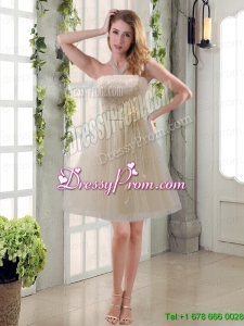 Handmade Flower Strapless Lace Prom Dress with Mini Length