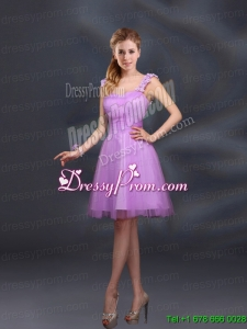 A Line Straps Appliques Prom Dresses in Lilac