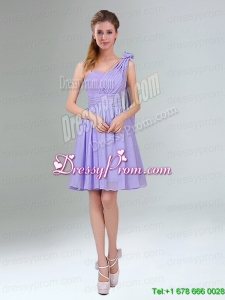 Cheap Mini Length Lavender Prom Dress with Ruching and Handmade Flower
