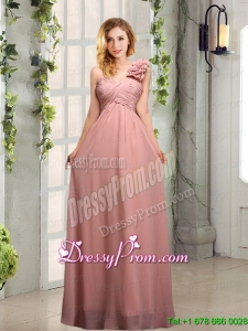 Cheap Ruching One Shoulder Prom Dresses with Hand Made Flowers