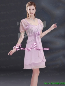 A Line Square Ruhing Prom Dress with Cap Sleeves