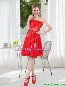 Wonderful Ruching Strapless Bowknot Prom Dress in Red