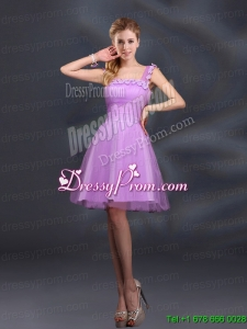 Elegant A Line Straps Lilac Prom Dresses with Appliques