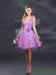 2015 Lilac Hand Made Flowers A Line One Shoulder Prom Dresses
