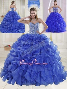 2015 Puffy Sweetheart Brush Train Quinceanera Dresses