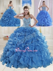 Elegant Brush Train Beading Quinceanera Dresses in Baby Blue