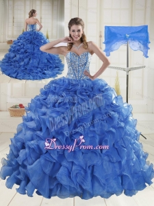 2015 Beautiful Sweetheart Brush Train Quinceanera Dresses with Beading