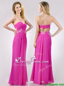 2016 Fashionable Sweetheart Backless Beaded and Ruched Dama Dress in Hot Pink