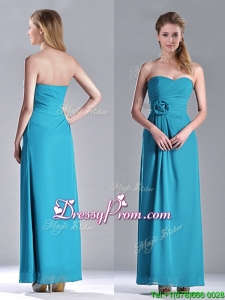 2016 Hot Sale Ankle Length Hand Crafted Flower Dama Dress in Teal