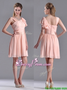 2016 Simple Empire Ruched Peach Dama Dress with Asymmetrical Neckline