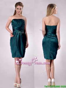 Exclusive Column Ruched Decorated Bodice Dama Dress in Hunter Green
