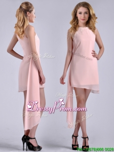 New Style Scoop Empire Chiffon Asymmetrical Dama Dress in Baby Pink