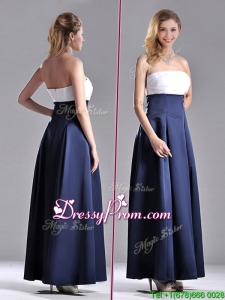 2016 Elegant Strapless Ankle Length Prom Dress in Navy Blue and White