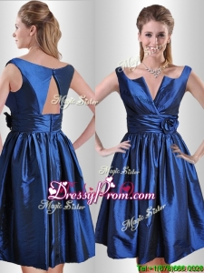 2016 Exquisite Open Back Hand Crafted Flower Prom Dress in Royal Blue