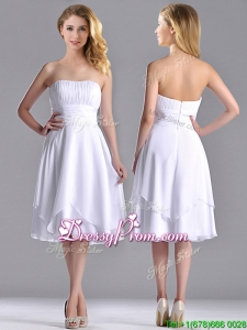 Cheap Strapless Chiffon White Christmas Party Dress with Ruched Decorated Bust