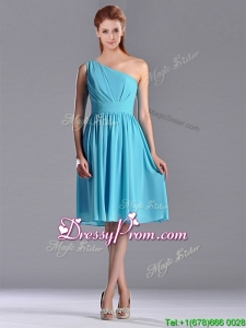 Discount Chiffon Baby Blue Knee Length Christmas Party Dress with One Shoulder