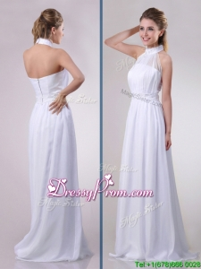 Empire Halter Top Applique Decorated Waist White Christmas Party Dress in Chiffon