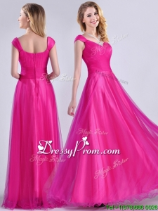Exclusive Organza Beaded Top Hot Pink Christmas Party Dress with Cap Sleeves