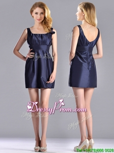 Hot Sale Square Handcrafted Flower Short Christmas Party Dress in Navy Blue