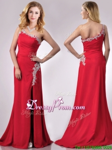 Luxurious Beaded Decorated One Shoulder and High Slit Christmas Party Dress with Brush Train