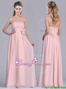 Modern Chiffon Handcrafted Flowers Long Christmas Party Dress in Baby Pink