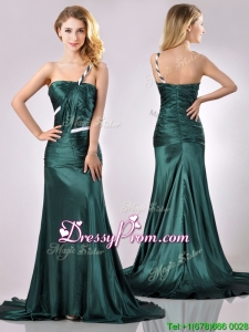 Modest One Shoulder Dark Green Christmas Party Dress in Elastic Woven Satin