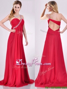 New Beaded Decorated One Shoulder Red Christmas Party Dress with Brush Train