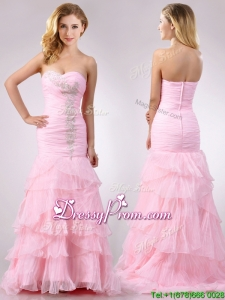 Popular Brush Train Organza Pink Christmas Party Dress with Beading and Ruffles