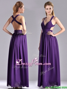 Sexy Purple Criss Cross Christmas Party Dress with Ruched Decorated Bust