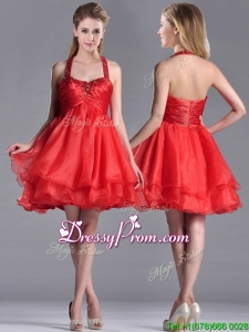Modern Beaded Decorated Top and Halter Top Christmas Party Dress in Organza