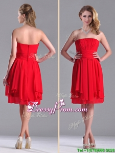 The Super Hot Strapless Empire Chiffon Ruched Dama Dress in Red