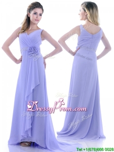Brush Train Lavender Prom Dress with Beading and Hand Crafted Flower