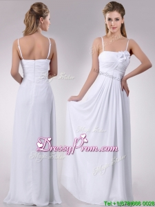 Latest Handcrafted Flower White Prom Dress with Spaghetti Straps