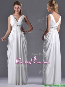 Elegant Empire V Neck Chiffon White Prom Dress for Graduation
