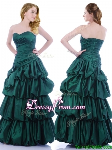 Popular A Line Ruched and Bubble Prom Dress in Hunter Green