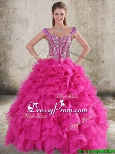2016 Perfect Ruffled and Beaded Bodice Straps Hot Pink Quinceanera Dress