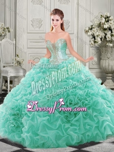 Latest Chapel Train Beaded and Ruffled Quinceanera Dress with Detachable Straps